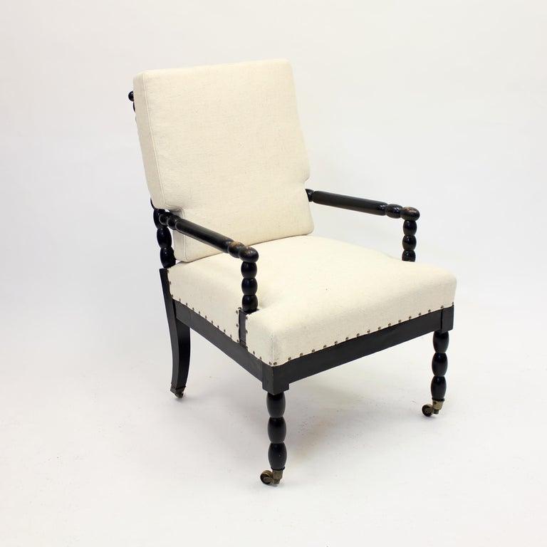 Antique Ebonized Bobbin Turned Chair, ca 1900 In Good Condition In Uppsala, SE