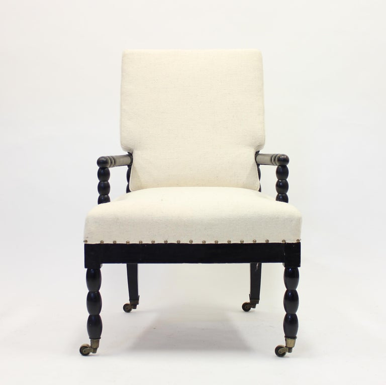 Brass Antique Ebonized Bobbin Turned Chair, ca 1900