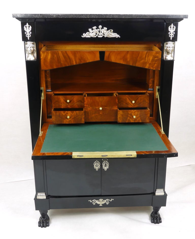 French Antique Ebonized Silver Empire Secretary an Abattant from France, 19th Century For Sale