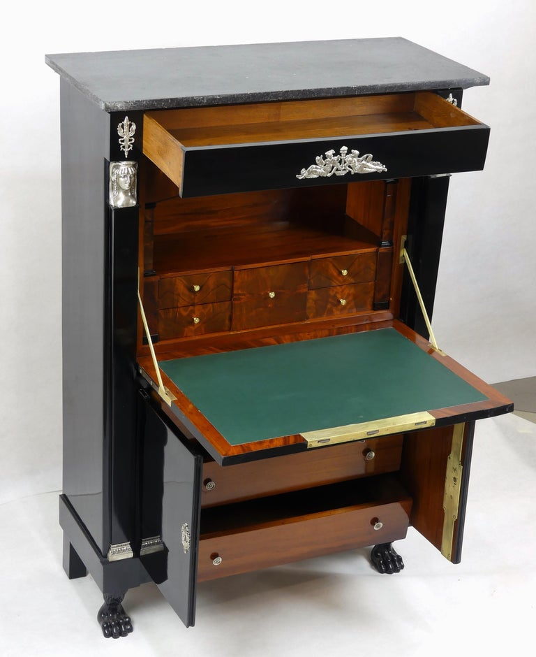 Antique Ebonized Silver Empire Secretary an Abattant from France, 19th Century In Good Condition For Sale In Vienna, AT