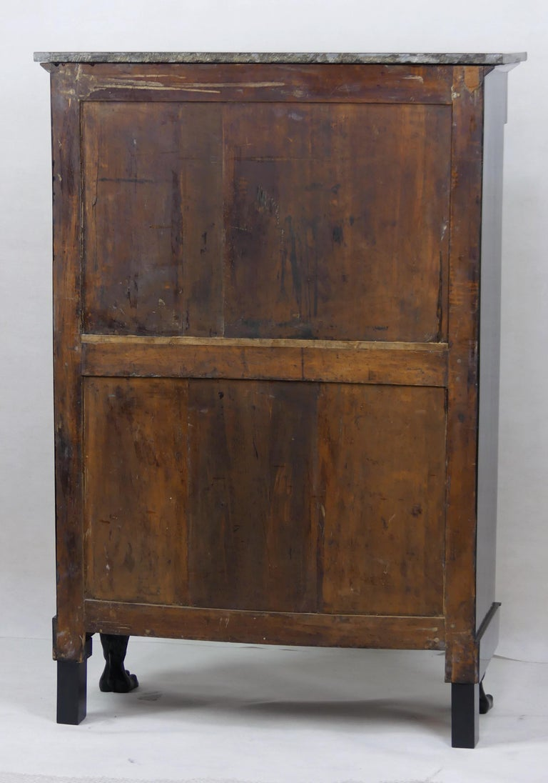 Marble Antique Ebonized Silver Empire Secretary an Abattant from France, 19th Century For Sale