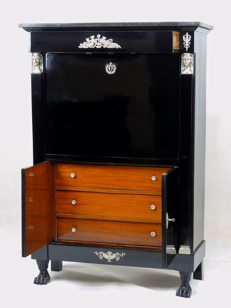 Antique Ebonized Silver Empire Secretary an Abattant from France, 19th Century For Sale 1