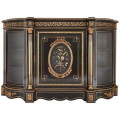 Antique Ebonized Wood, Gilt Bronze and Hardstone Cabinet