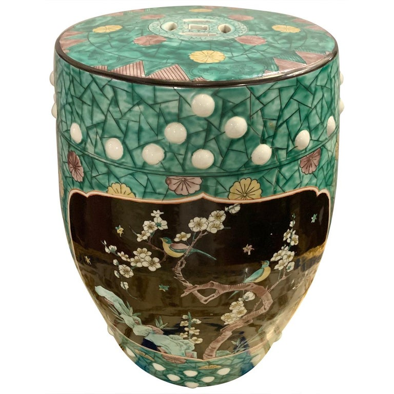 Tremendous Antique Ebony And Floral Decorated Chinese Garden Stool Porcelain Caraccident5 Cool Chair Designs And Ideas Caraccident5Info