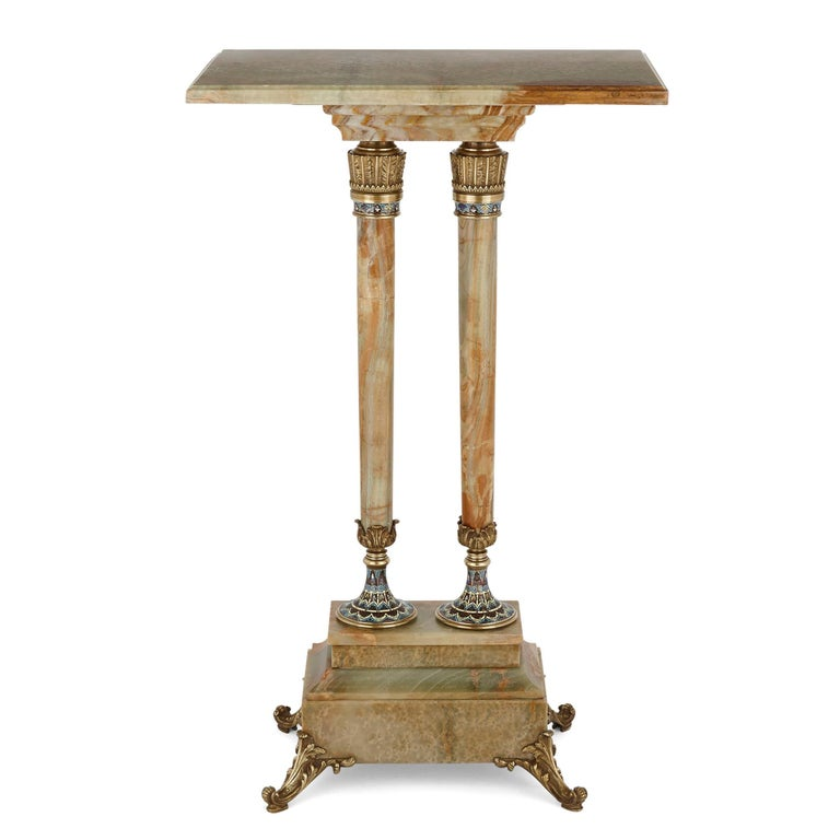 Antique eclectic style gilt bronze and green onyx side table by Giroux French, late 19th century Dimensions: Height 90cm, width 54cm, depth 35cm  Crafted from green and red veined onyx, this beautiful table features gilt bronze mounts and