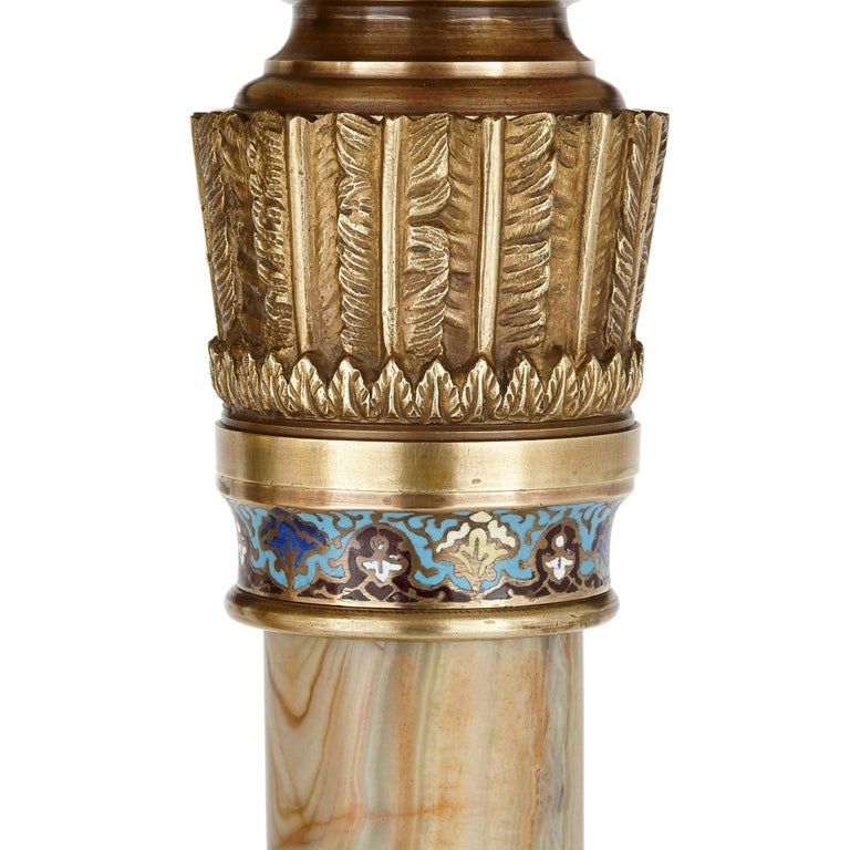 Neoclassical Antique Eclectic Style Gilt Bronze and Green Onyx Side Table by Giroux For Sale