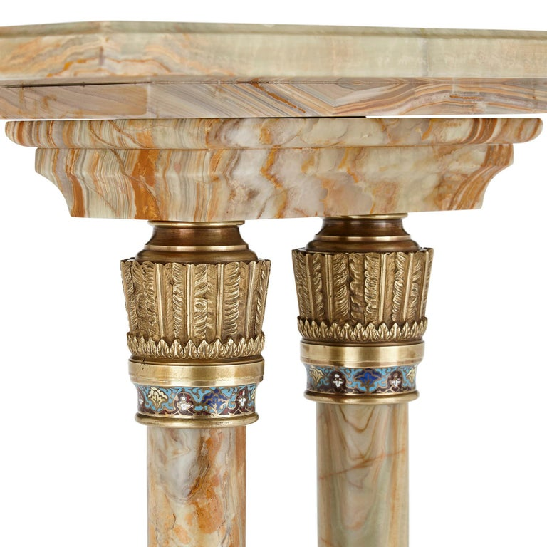 Antique Eclectic Style Gilt Bronze and Green Onyx Side Table by Giroux In Good Condition For Sale In London, GB
