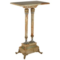 Antique Eclectic Style Gilt Bronze and Green Onyx Side Table by Giroux