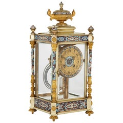 Antique Eclectic Style Gilt Bronze, Brass and Champlevé Enamel Mantel Clock