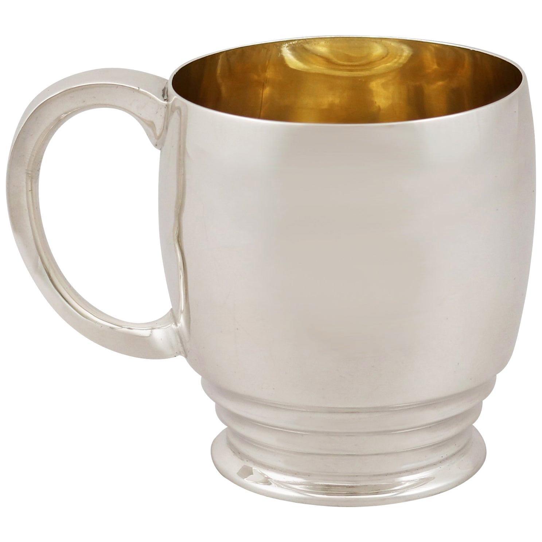 Antique Edward VIII Art Deco Sterling Silver Christening Mug
