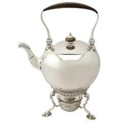 Antique Edward VIII George I Style Sterling Silver Spirit Kettle