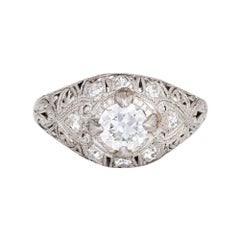 Antique Edwardian 0.55ct Diamond Engagement Ring Vintage Platinum Bridal Jewelry
