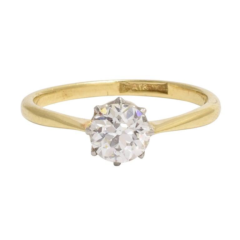Antique Edwardian 0.88 Carat Old European Cut Diamond Solitaire Engagement Ring