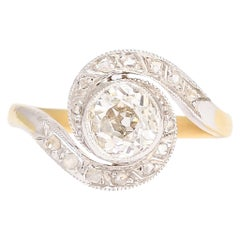 Antique Edwardian 1.05 Carat Old Cut Diamond Swirl Ring