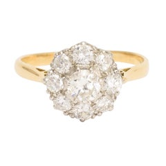 Antique Edwardian 1.15 Carat Diamond Cluster Ring