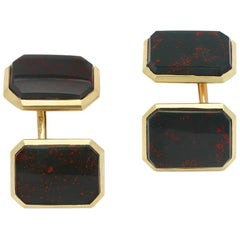 Antique Edwardian 14 Karat Gold Bloodstone Agate Double-Sided Cufflinks