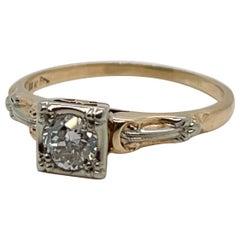 Antique Edwardian 14 Karat Gold & Diamond Engagement Ring