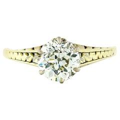 Antique Edwardian 14 Karat Gold GIA 1.36 Carat European Diamond Solitaire Ring