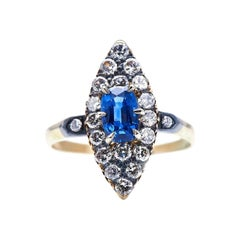 Antique, Edwardian, 14ct Gold, Sapphire and Diamond Navette Cluster Ring