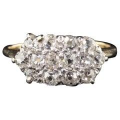 Antique Edwardian 14 Karat Yellow Gold Platinum Top Diamond Ring