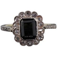 Antique Edwardian 14 Karat Yellow Gold, Sapphire and Rose Cut Diamond Ring