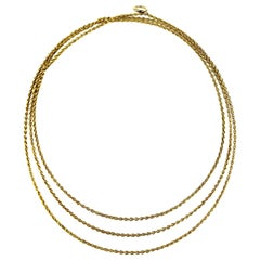 Antique Edwardian 15 Carat Gold Long Guard Chain or 2/3 Rows Gold Chain