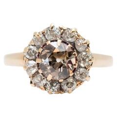 Antique Edwardian 1.5 Carat Total Old Mine Diamond Ring in 14 Karat Yellow Gold