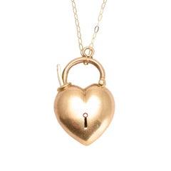Antique Edwardian 15 Karat Gold Puffed Heart Padlock Pendant