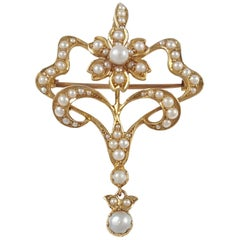 Antique Edwardian 15 Karat Yellow Gold Seed Pearl Pendant and Brooch