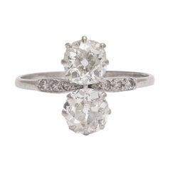 """Antique Edwardian 1.62 Carat Old Mine Cut Diamond """"Toi et Moi"""" Engagement Ring"""