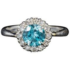 Antique Edwardian 18 Carat Gold circa 1915 Blue Zircon Diamond Ring