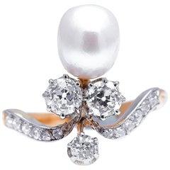 Antique, Edwardian, 18 Carat Gold, French, Natural Pearl and Diamond Tiara Ring