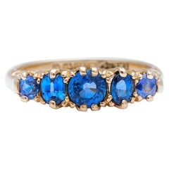 Antique Edwardian, 18 Carat Gold, Natural Ceylon Sapphire Five-Stone Ring