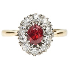 Antique, Edwardian, 18 Carat Gold, Ruby and Diamond Cluster Engagement Ring