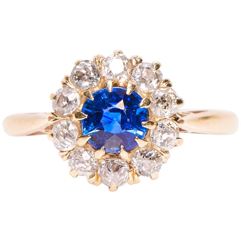 Antique Engagement Rings For Sale: Antique, Edwardian, 18 Carat Gold Sapphire And Diamond