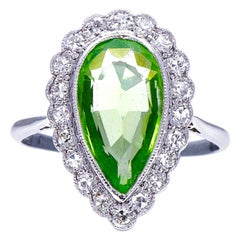 Antique, Edwardian, 18 Carat White Gold, Peridot and Diamond Cluster Ring