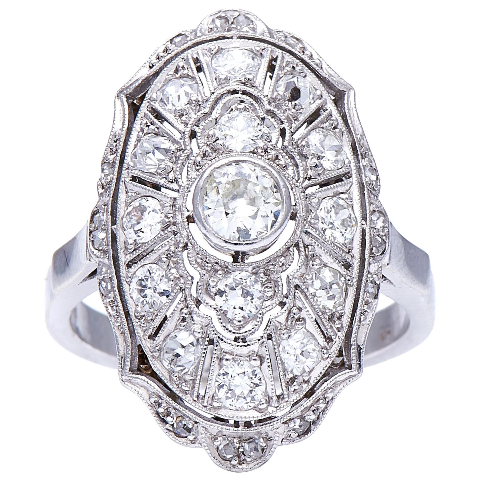 Antique, Edwardian, 18 Carat White Gold, Platinum, Old Cut Diamond Plaque Ring