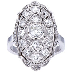 Antique, Edwardian, 18 Carat White Gold, Platinum, Old Cut Diamond Plaque Ring
