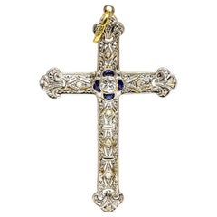 Antique Edwardian 18 Karat Gold and Platinum Diamonds Cross
