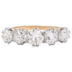 Antique Edwardian 18 Karat Gold Five-Stone Diamond Ring