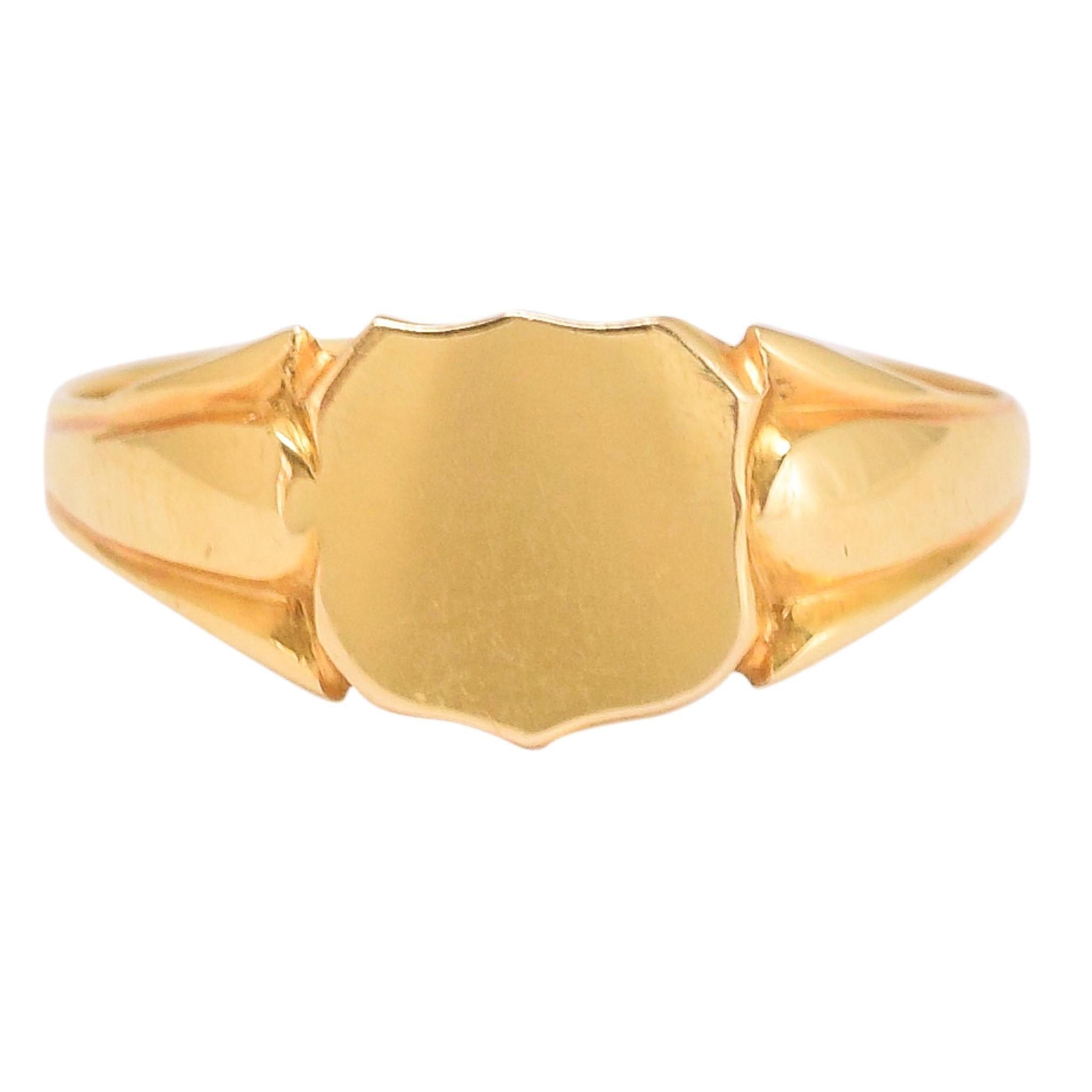 Antique Edwardian 18 Karat Gold Shield Signet Ring