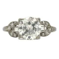 Antique Edwardian 1.82 Carat Old Mine Cut Diamond Platinum Engagement Ring