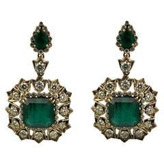 Antique Edwardian 18.5 Carat Natural Emerald Earring, 18 Karat Gold and Silver