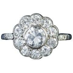 Antique Edwardian 18ct Gold 1.80ct of Diamond circa 1915 Diamond Cluster Ring