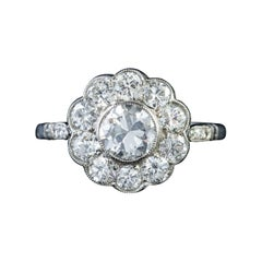 Antique Edwardian 18ct Gold 1.80ct of Diamond circa 1915 Diamond Cluster Ring
