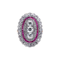 Antique, Edwardian, 18ct Gold and Platinum, Ruby and Diamond Ring
