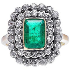 Antique, Edwardian, 18 Carat Gold, Colombian Emerald and Diamond Cluster Ring