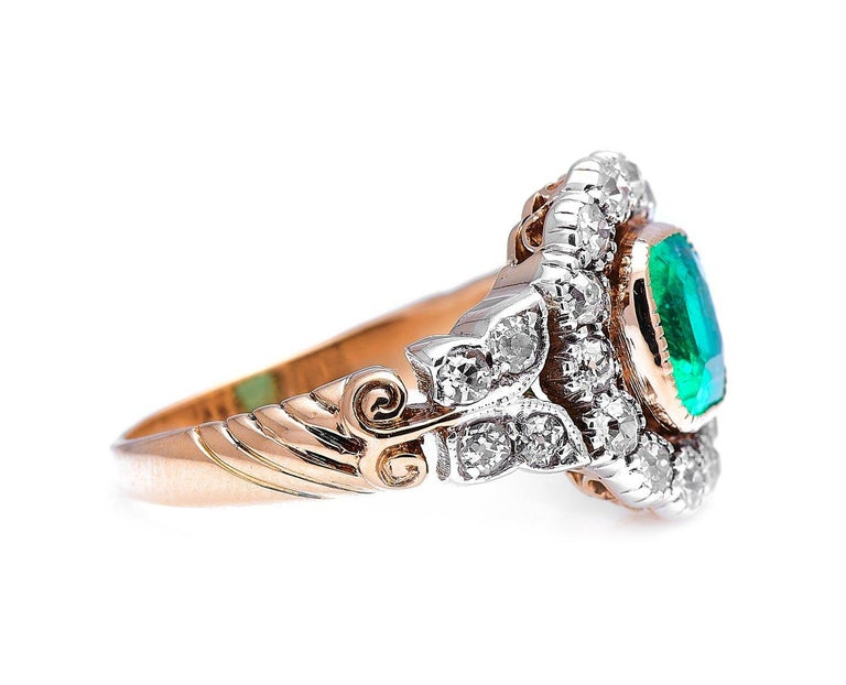 Antique Cushion Cut Antique, Edwardian, 18 Carat Gold, Garland Style, Emerald and Diamond Ring For Sale