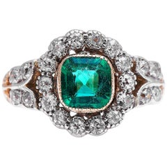 Antique, Edwardian, 18 Carat Gold, Garland Style, Emerald and Diamond Ring
