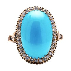 Antique, Edwardian, 18ct Gold, Natural Turquoise and Diamond Ring